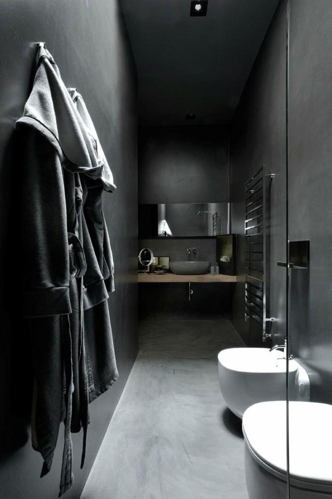 Ванная в  цветах:   Светло-серый, Серый, Синий, Черный.  Ванная в  стиле:   Минимализм.