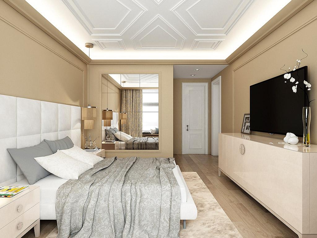 Спальня в  цветах:   Бежевый, Белый, Светло-серый, Черный.  Спальня в  стиле:   Минимализм.