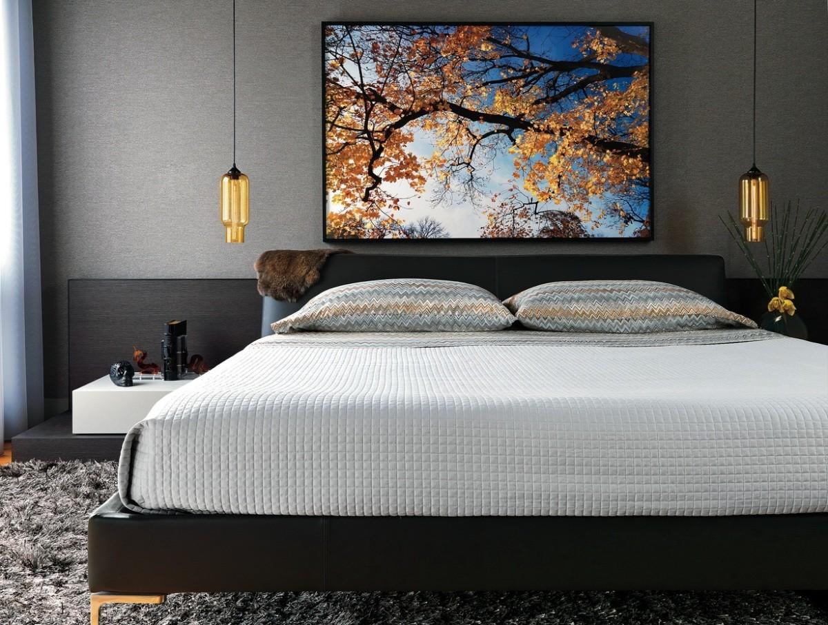 25 стильных спален с лампами на подвесах