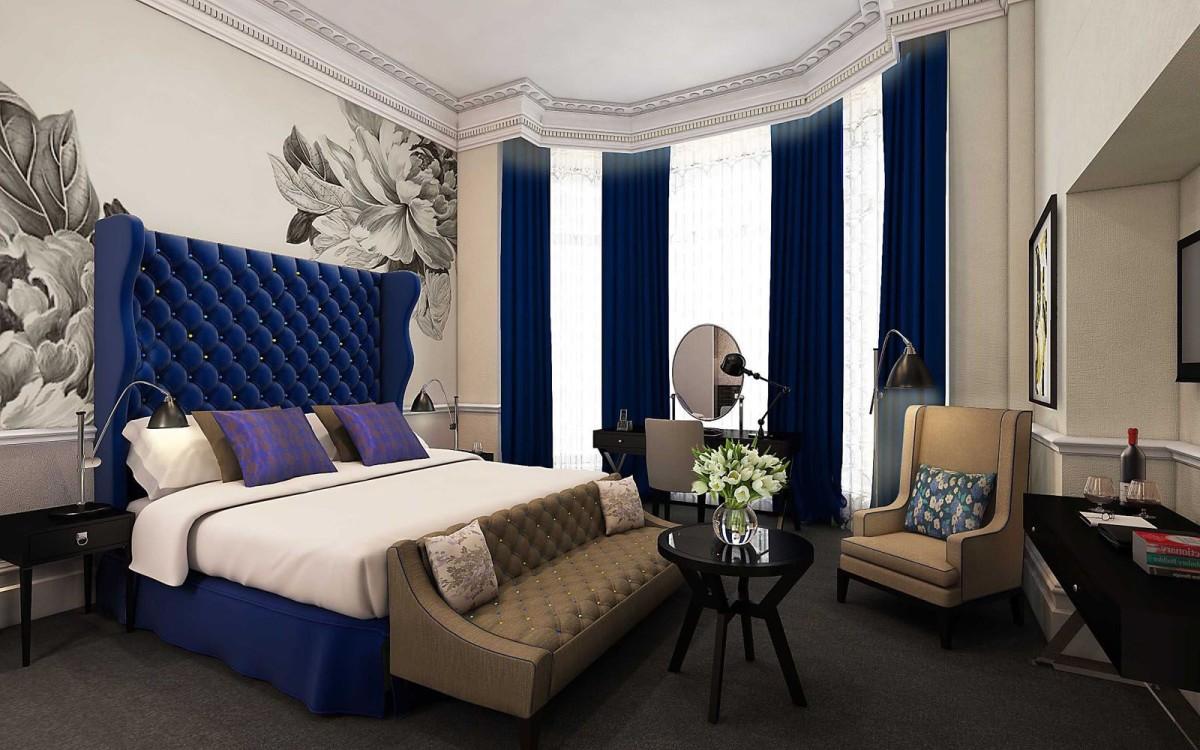 Спальня в  цветах:   Бежевый, Светло-серый, Серый, Фиолетовый, Черный.  Спальня в  стиле:   Эклектика.