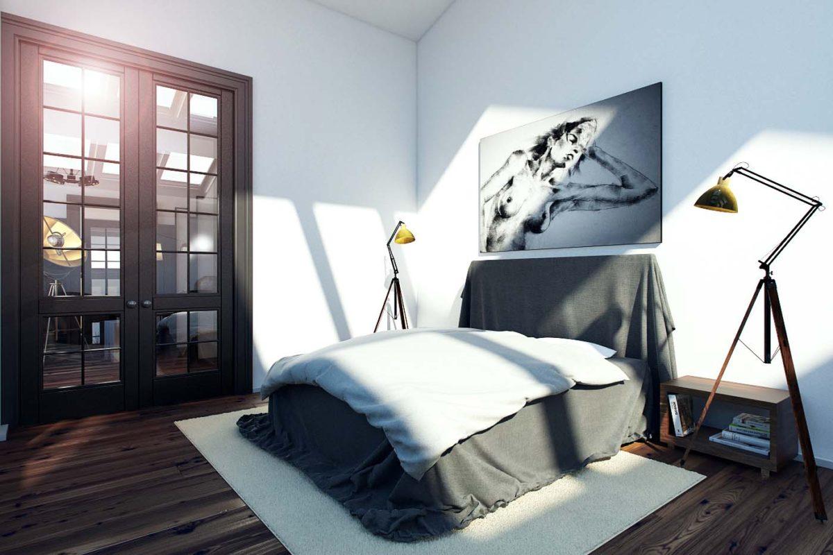 Спальня в  цветах:   Белый, Светло-серый, Серый, Черный.  Спальня в  стиле:   Минимализм.