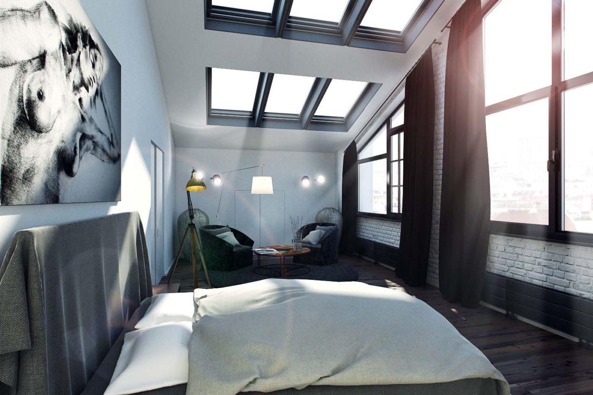 Спальня в  цветах:   Белый, Светло-серый, Серый, Синий, Черный.  Спальня в  стиле:   Лофт.