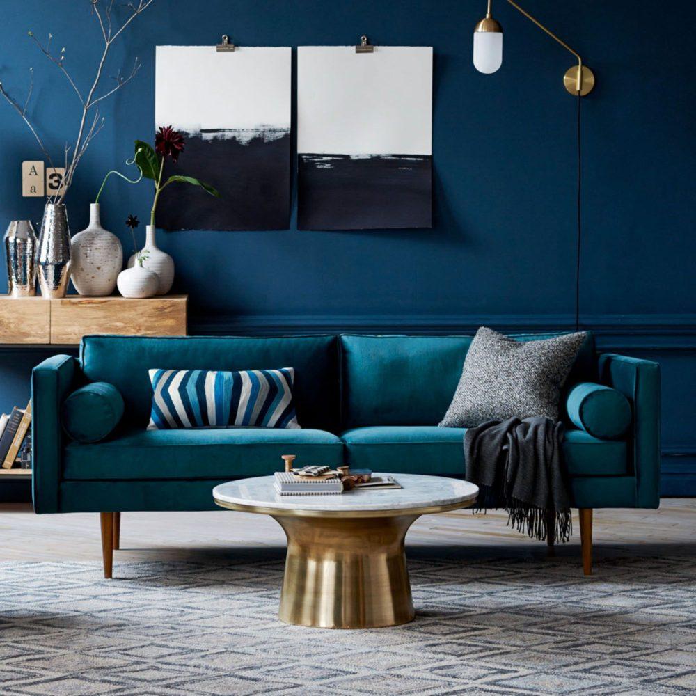 20 гостиных с синими стенами