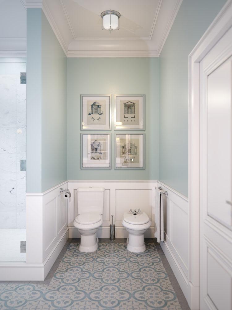 Туалет в  цветах:   Бежевый, Светло-серый, Серый.  Туалет в  стиле:   Неоклассика.