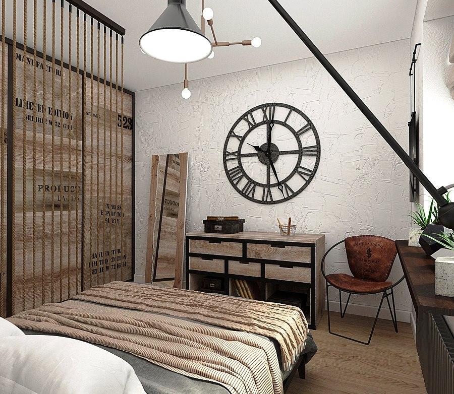 Спальня в  цветах:   Бежевый, Коричневый, Светло-серый, Серый, Темно-коричневый.  Спальня в  стиле:   Лофт.
