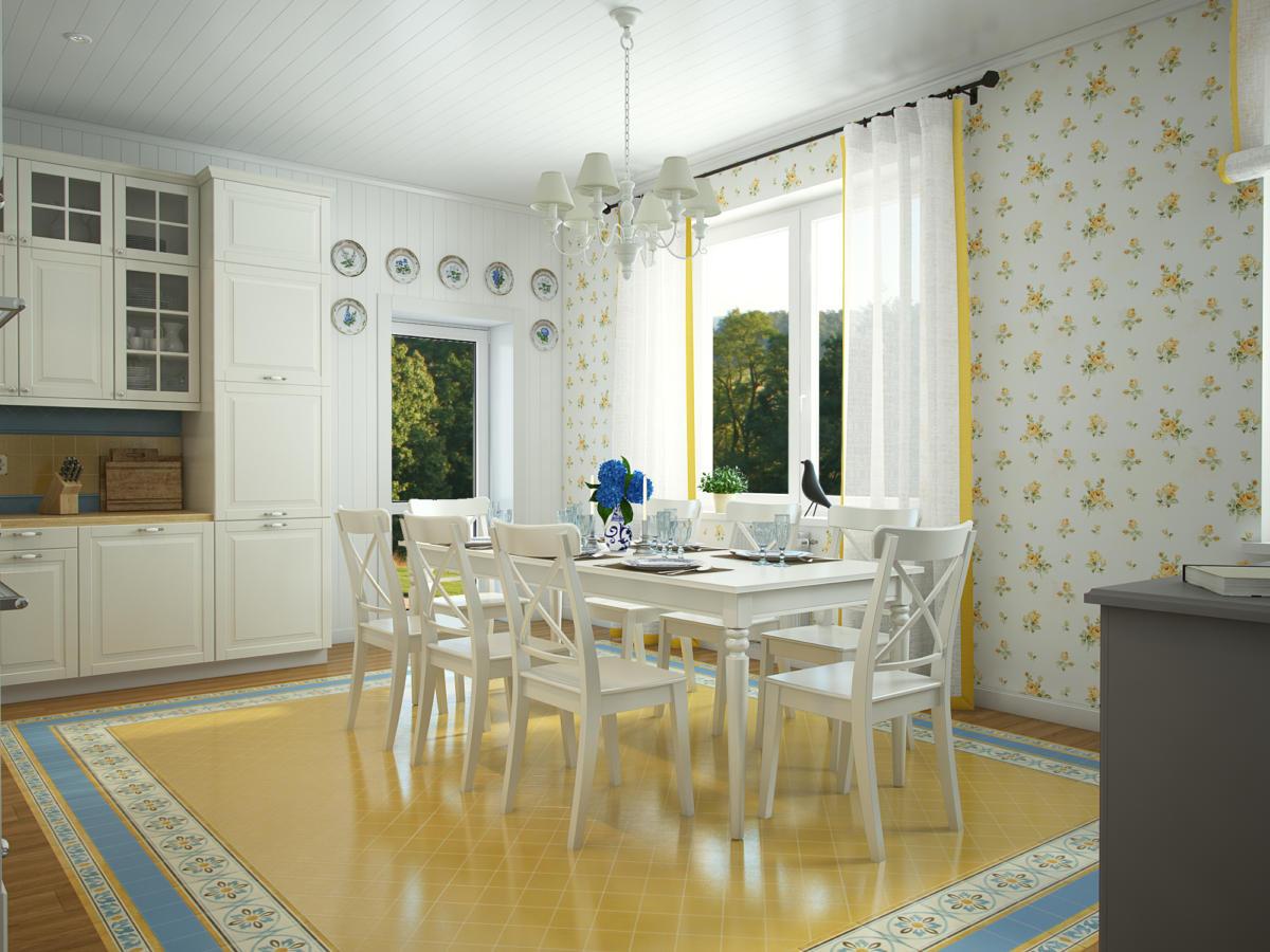 Кухня/столовая в  цветах:   Бежевый, Белый, Светло-серый, Серый.  Кухня/столовая в  стиле:   Прованс.
