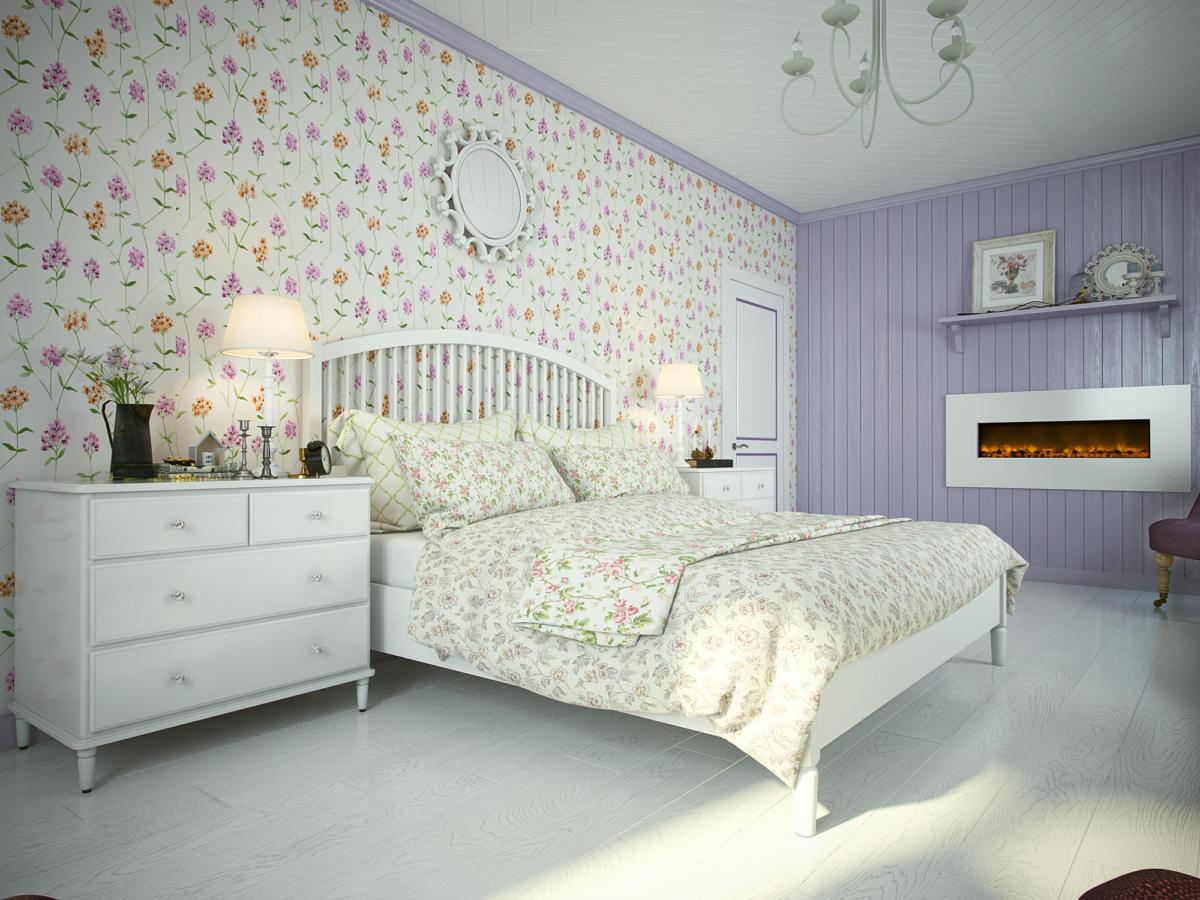 Спальня в  цветах:   Светло-серый, Серый.  Спальня в  стиле:   Прованс.