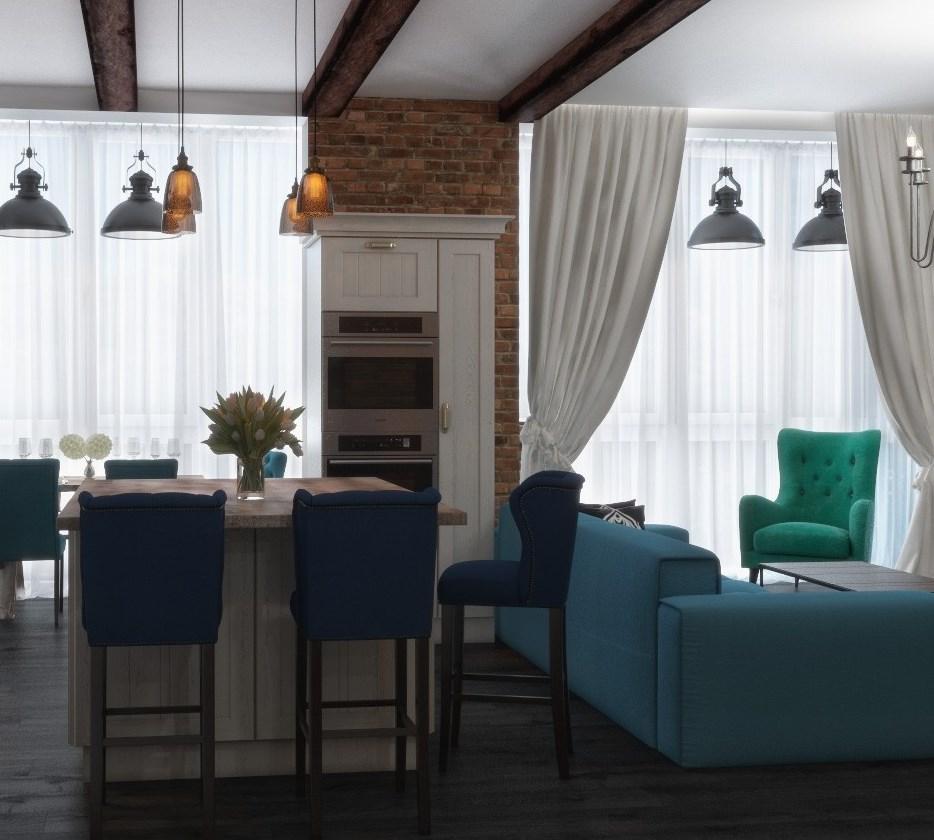 Кухня/столовая в  цветах:   Белый, Светло-серый, Серый, Синий, Черный.  Кухня/столовая в  стиле:   Лофт.
