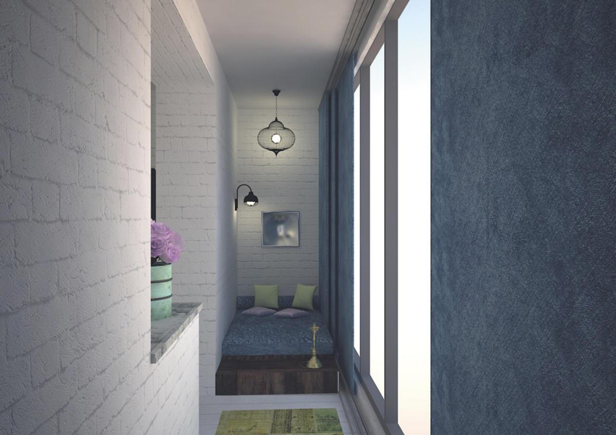 Балкон в  цветах:   Бежевый, Белый, Светло-серый, Серый, Синий.  Балкон в  стиле:   Лофт.