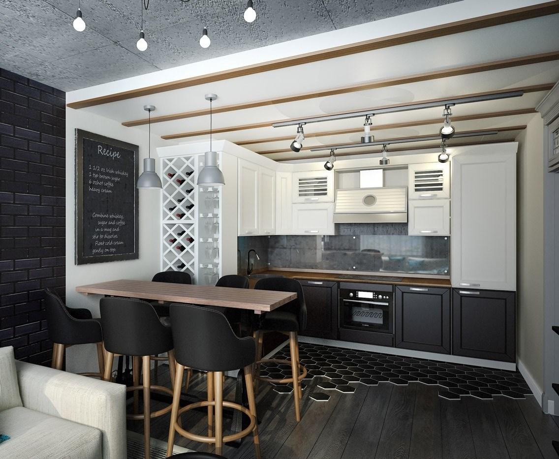 Кухня/столовая в  цветах:   Бежевый, Светло-серый, Серый, Черный.  Кухня/столовая в  стиле:   Скандинавский.