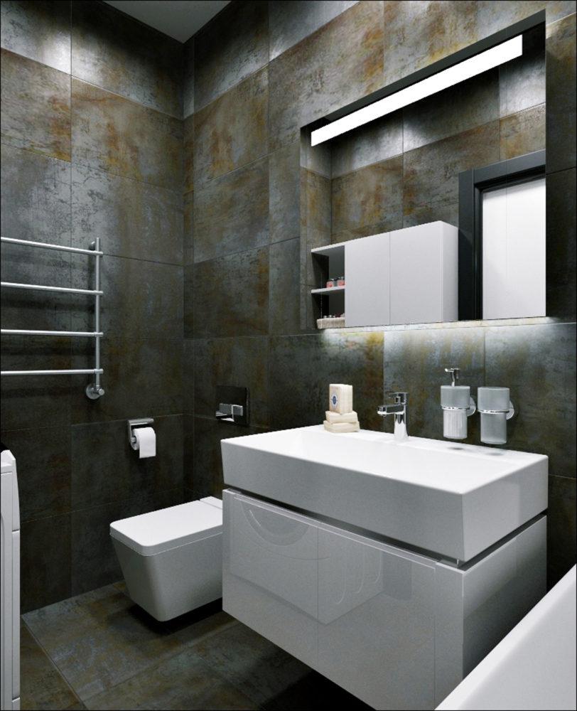 Ванная в  цветах:   Светло-серый, Серый, Синий, Темно-коричневый, Черный.  Ванная в  стиле:   Минимализм.