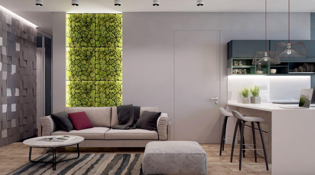 Квартира в стиле лофт: 4 комнаты, мох на стене и 3 гардеробные