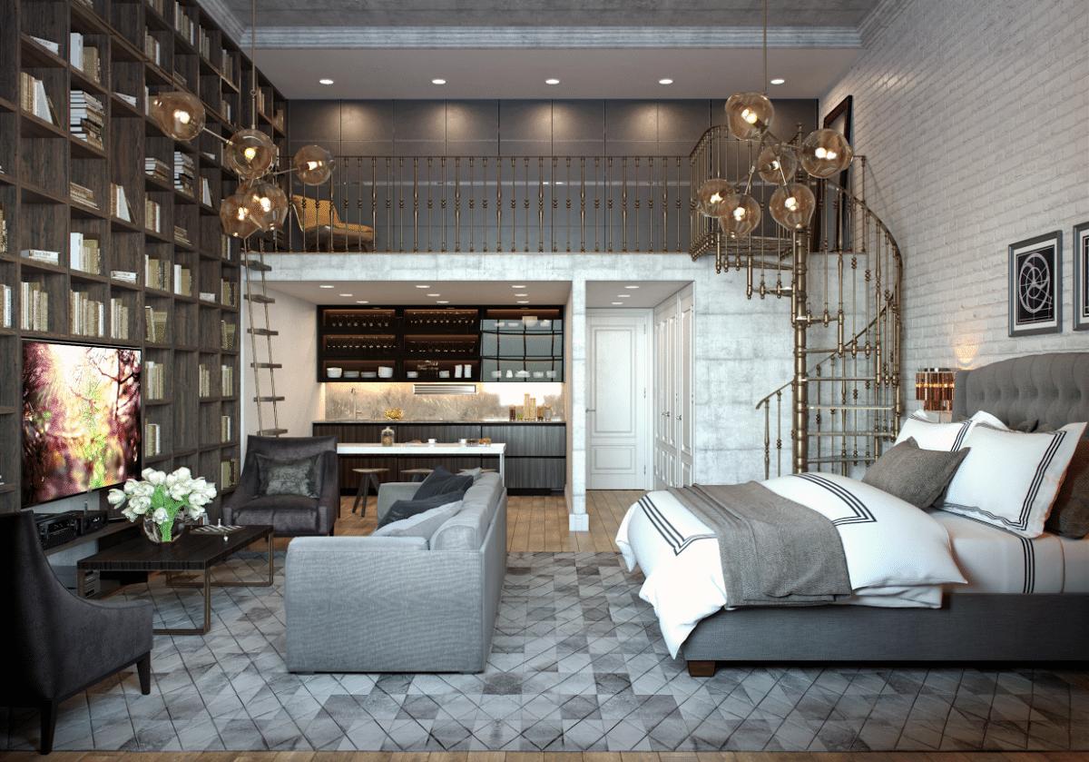 Спальня в  цветах:   Бежевый, Светло-серый, Серый, Темно-коричневый, Черный.  Спальня в  стиле:   Лофт.