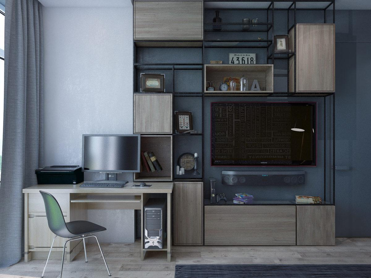 Кабинет в  цветах:   Светло-серый, Серый, Синий, Черный.  Кабинет в  стиле:   Минимализм.