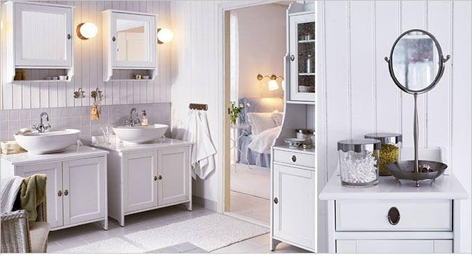 Ванная в  цветах:   Белый, Светло-серый, Серый.  Ванная в  стиле:   Скандинавский.