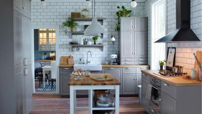 Кухня/столовая в  цветах:   Светло-серый, Серый, Синий, Черный.  Кухня/столовая в  стиле:   Скандинавский.