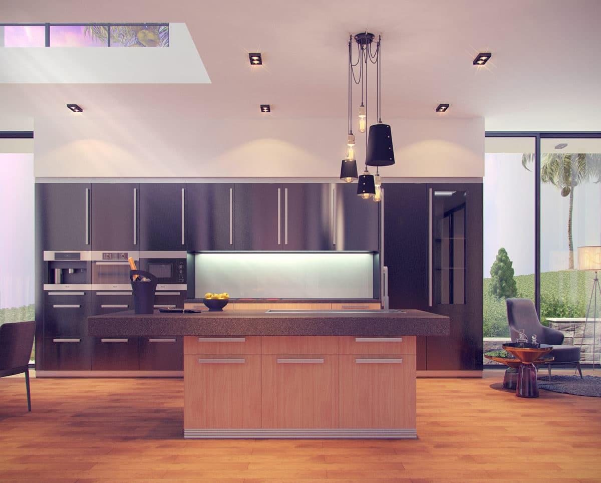 Кухня/столовая в  цветах:   Красный, Оранжевый, Светло-серый, Серый, Фиолетовый.  Кухня/столовая в  стиле:   Минимализм.