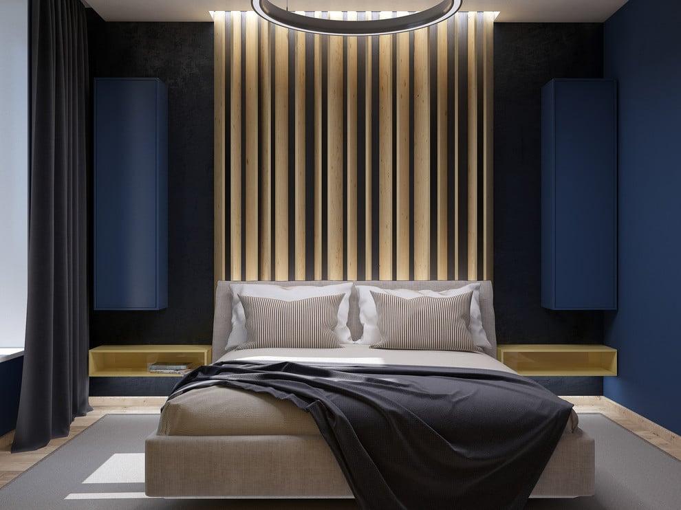 Спальня в  цветах:   Бежевый, Светло-серый, Серый, Фиолетовый, Черный.  Спальня в  стиле:   Минимализм.