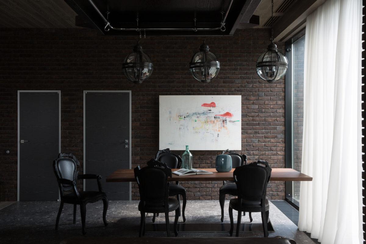 Кухня/столовая в  цветах:   Белый, Светло-серый, Серый, Черный.  Кухня/столовая в  стиле:   Лофт.