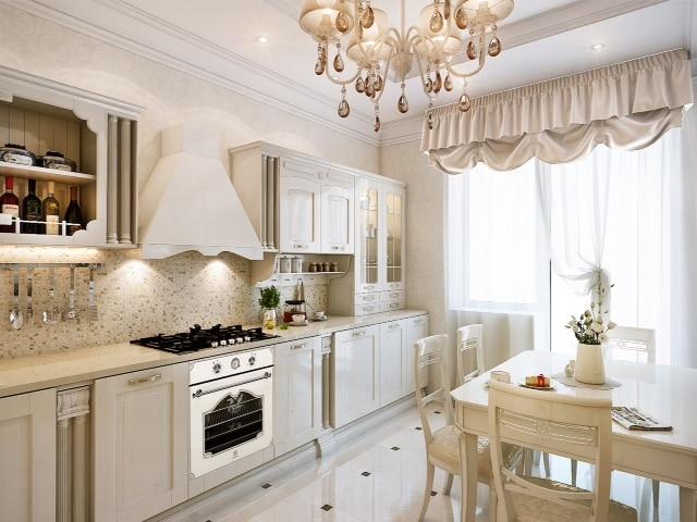Кухня/столовая в  цветах:   Бежевый, Белый, Светло-серый.  Кухня/столовая в  стиле:   Неоклассика.