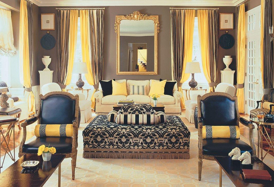 Сочетание коричневого цвета штор в интерьере