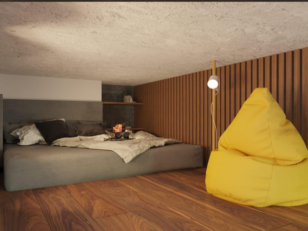 Спальня в  цветах:   Бежевый, Желтый, Коричневый, Светло-серый, Темно-коричневый.  Спальня в  стиле:   Минимализм.
