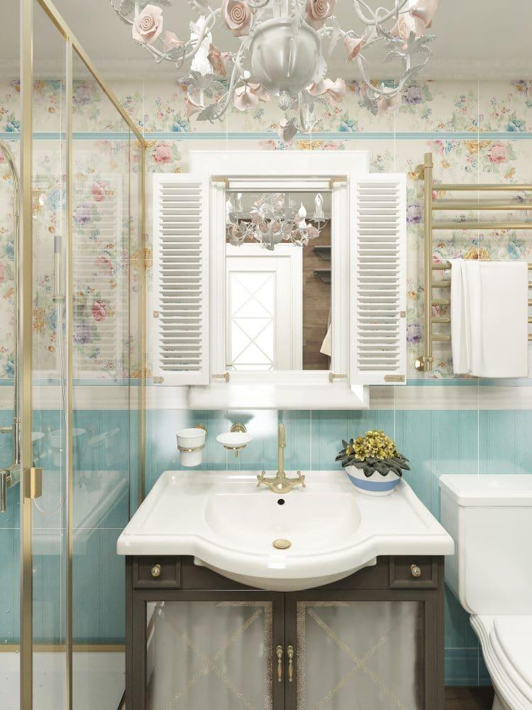 Ванная в  цветах:   Бежевый, Белый, Светло-серый, Серый.  Ванная в  стиле:   Прованс.