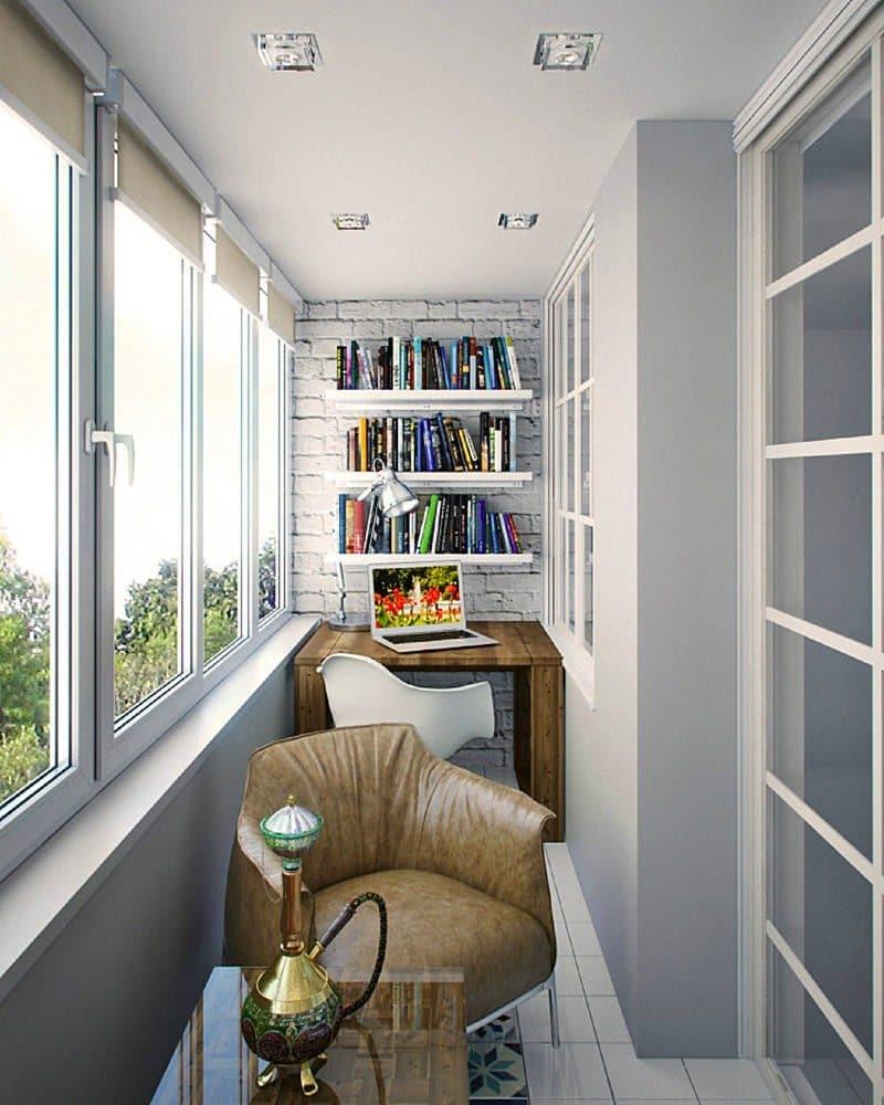 Балкон в  цветах:   Бежевый, Белый, Светло-серый, Серый.  Балкон в  стиле:   Скандинавский.