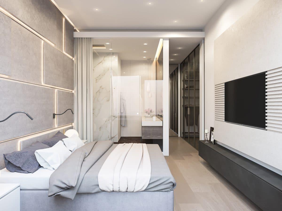 Спальня в  цветах:   Бежевый, Белый, Светло-серый, Серый, Черный.  Спальня в  стиле:   Минимализм.