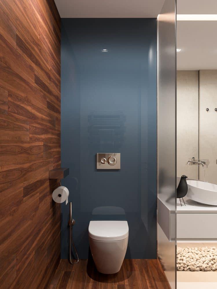 Ванная в  цветах:   Коричневый, Светло-серый, Серый, Синий, Темно-коричневый.  Ванная в  стиле:   Минимализм.