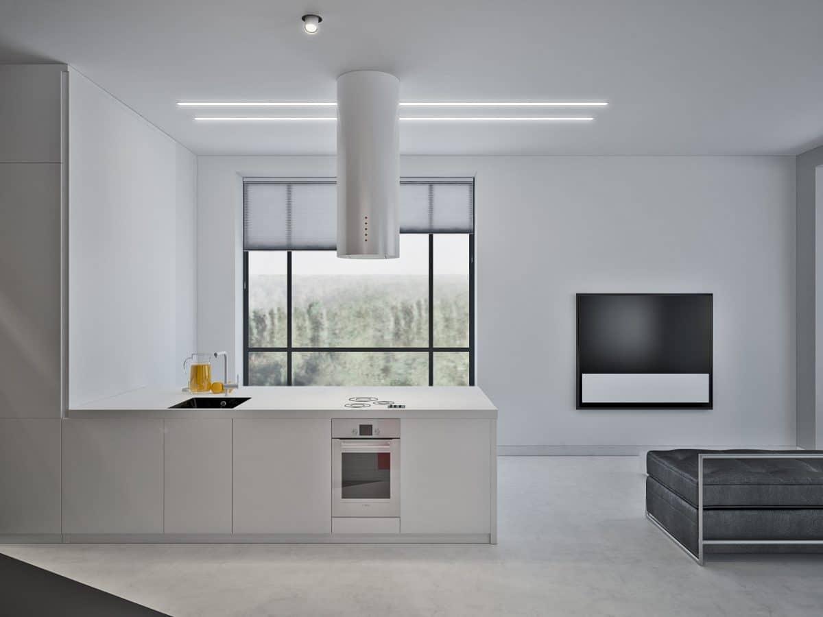 Кухня/столовая в  цветах:   Светло-серый, Серый.  Кухня/столовая в  стиле:   Скандинавский.