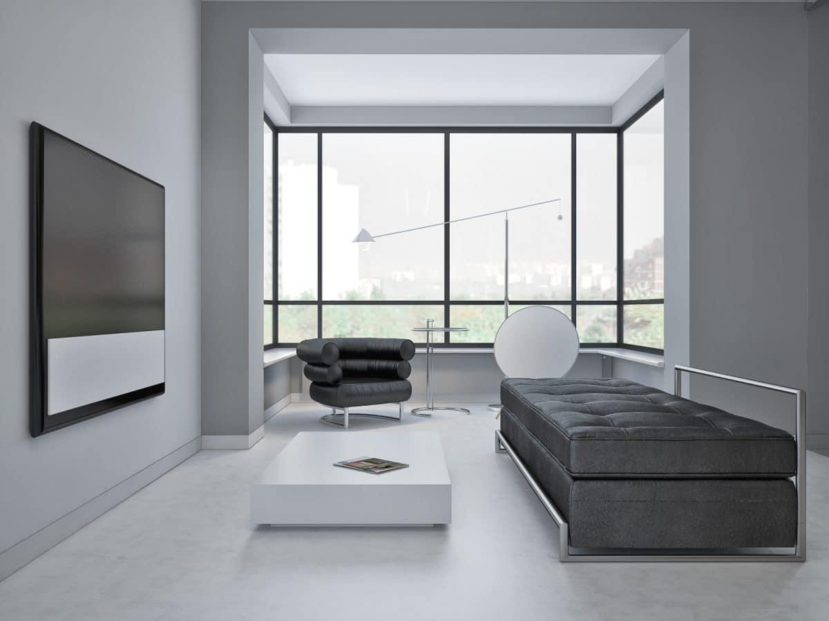 Гостиная в  цветах:   Белый, Светло-серый, Серый, Черный.  Гостиная в  стиле:   Скандинавский.