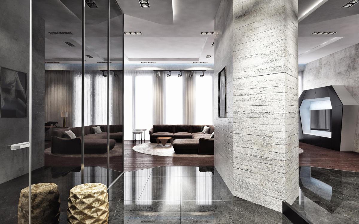 Гостиная в  цветах:   Бежевый, Коричневый, Светло-серый.  Гостиная в  стиле:   Лофт.