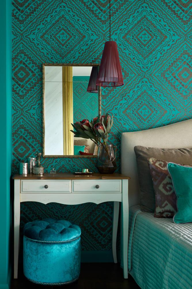 Спальня в  цветах:   Голубой, Зеленый, Темно-коричневый.  Спальня в  стиле:   Прованс.