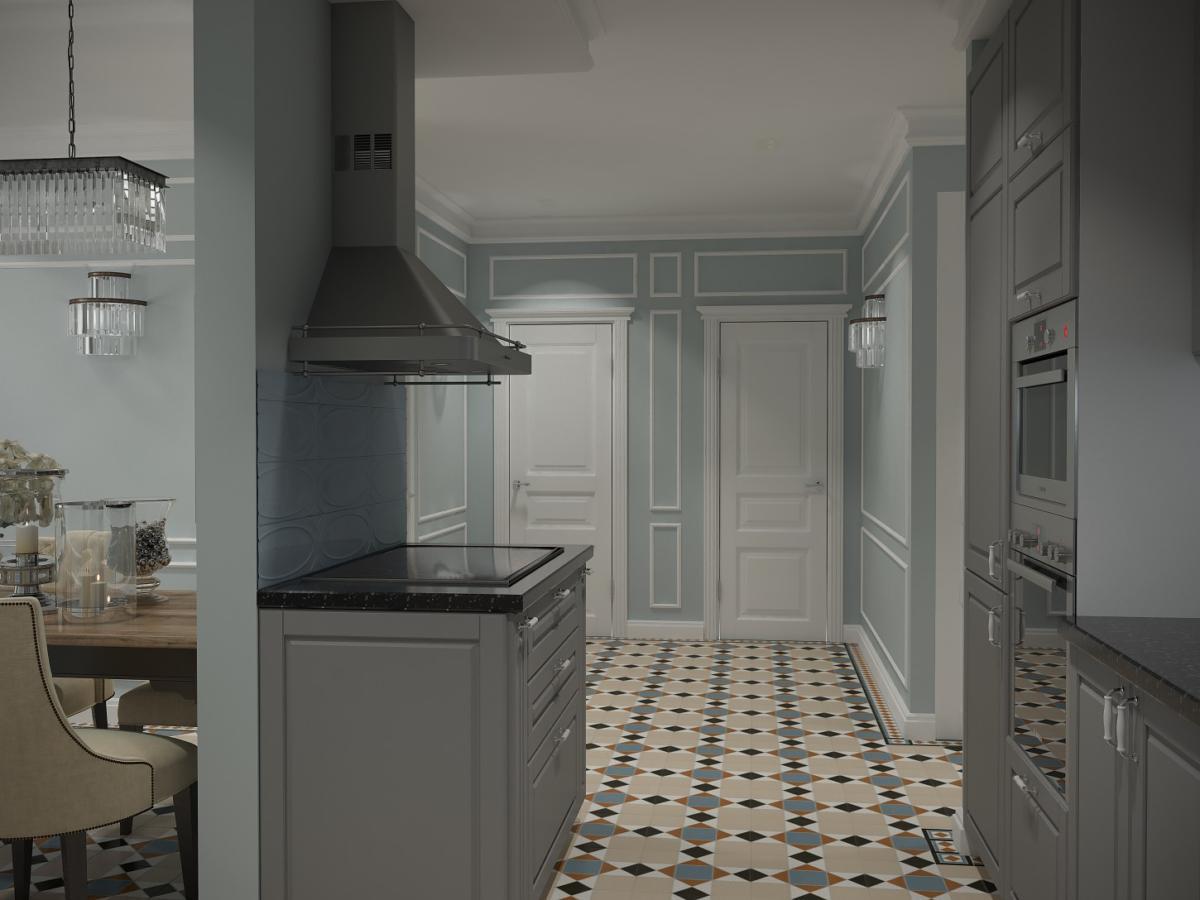 Кухня/столовая в  цветах:   Бежевый, Зеленый, Светло-серый, Серый, Темно-коричневый.  Кухня/столовая в  стиле:   Неоклассика.