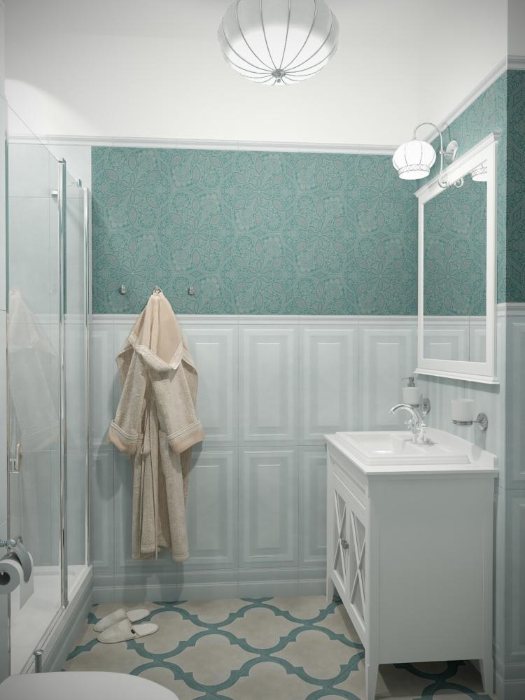 Ванная в  цветах:   Бежевый, Голубой, Светло-серый, Темно-зеленый.  Ванная в  стиле:   Неоклассика.