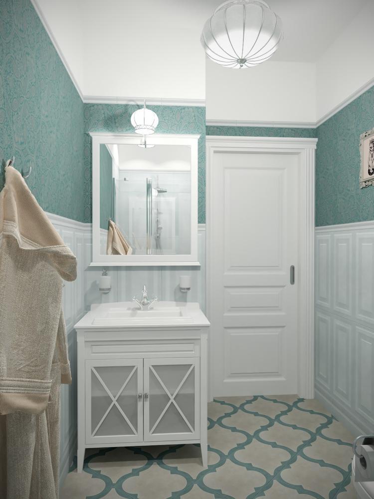 Ванная в  цветах:   Бежевый, Зеленый, Коричневый, Светло-серый, Темно-зеленый.  Ванная в  стиле:   Неоклассика.