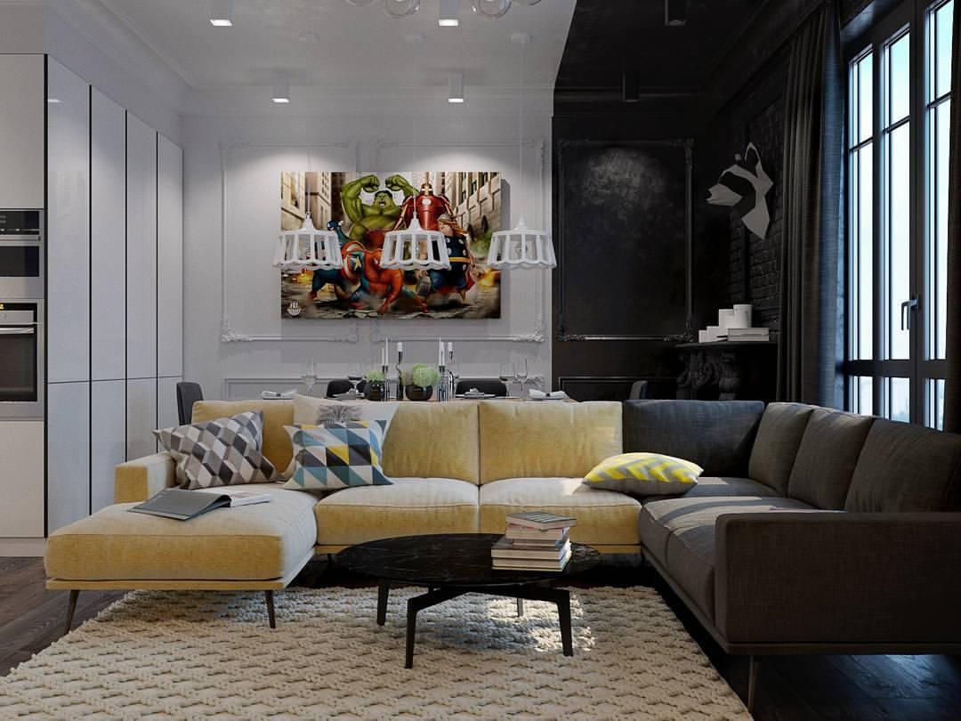 Современная чёрно-белая квартира, которую очень интересно рассматривать