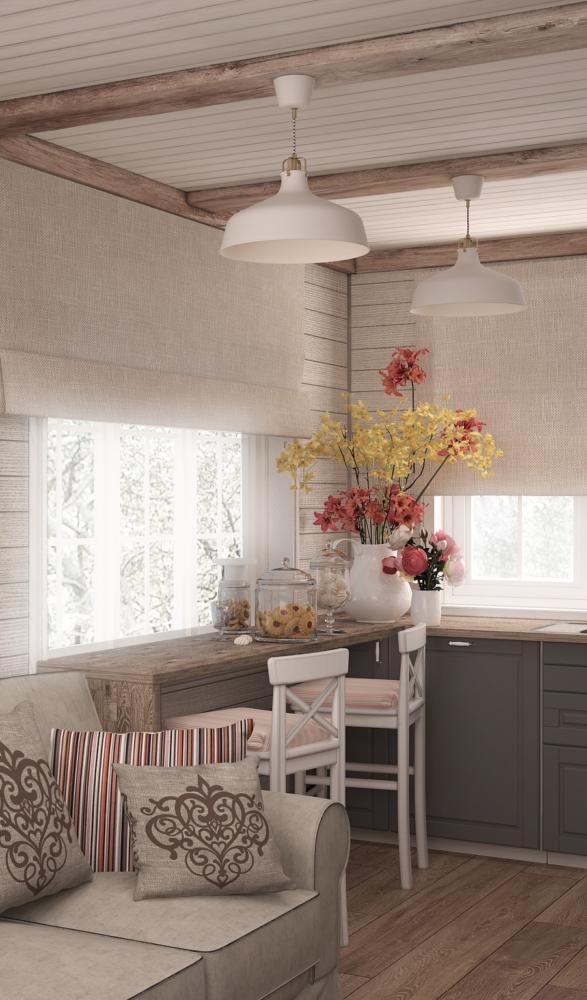 Кухня/столовая в  цветах:   Белый, Бордовый, Коричневый, Темно-коричневый.  Кухня/столовая в  стиле:   Кантри.