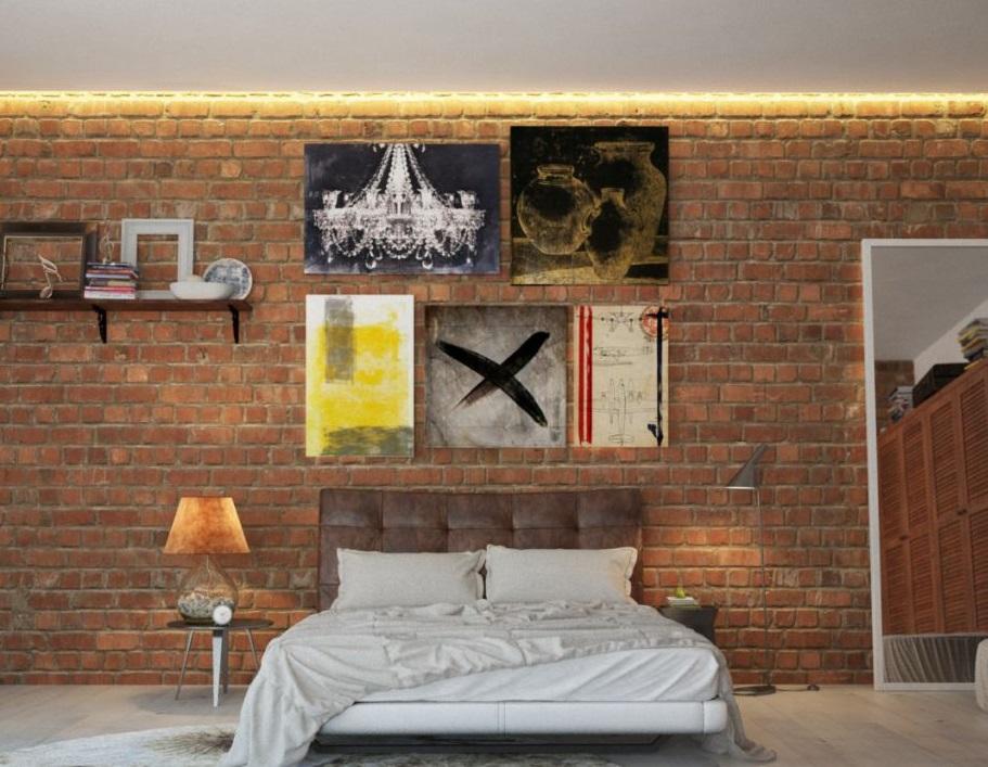 Спальня в  цветах:   Бежевый, Коричневый, Лимонный, Темно-коричневый.  Спальня в  стиле:   Лофт.