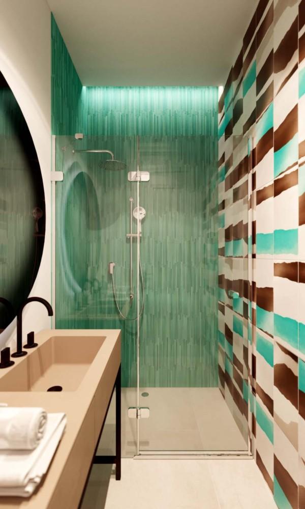 Ванная в  цветах:   Бежевый, Лимонный, Темно-зеленый, Темно-коричневый.  Ванная в  стиле:   Минимализм.