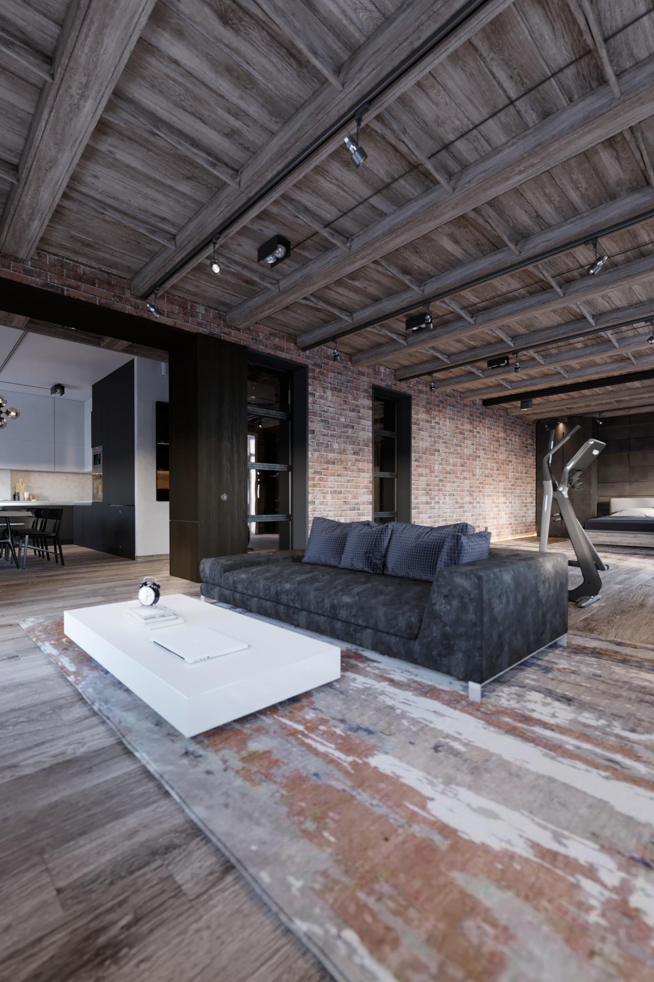 Пространство поделено на функциональные зоны — кухня, прихожая, гостиная и спальня — с помощью мебели или лёгких конструкций.