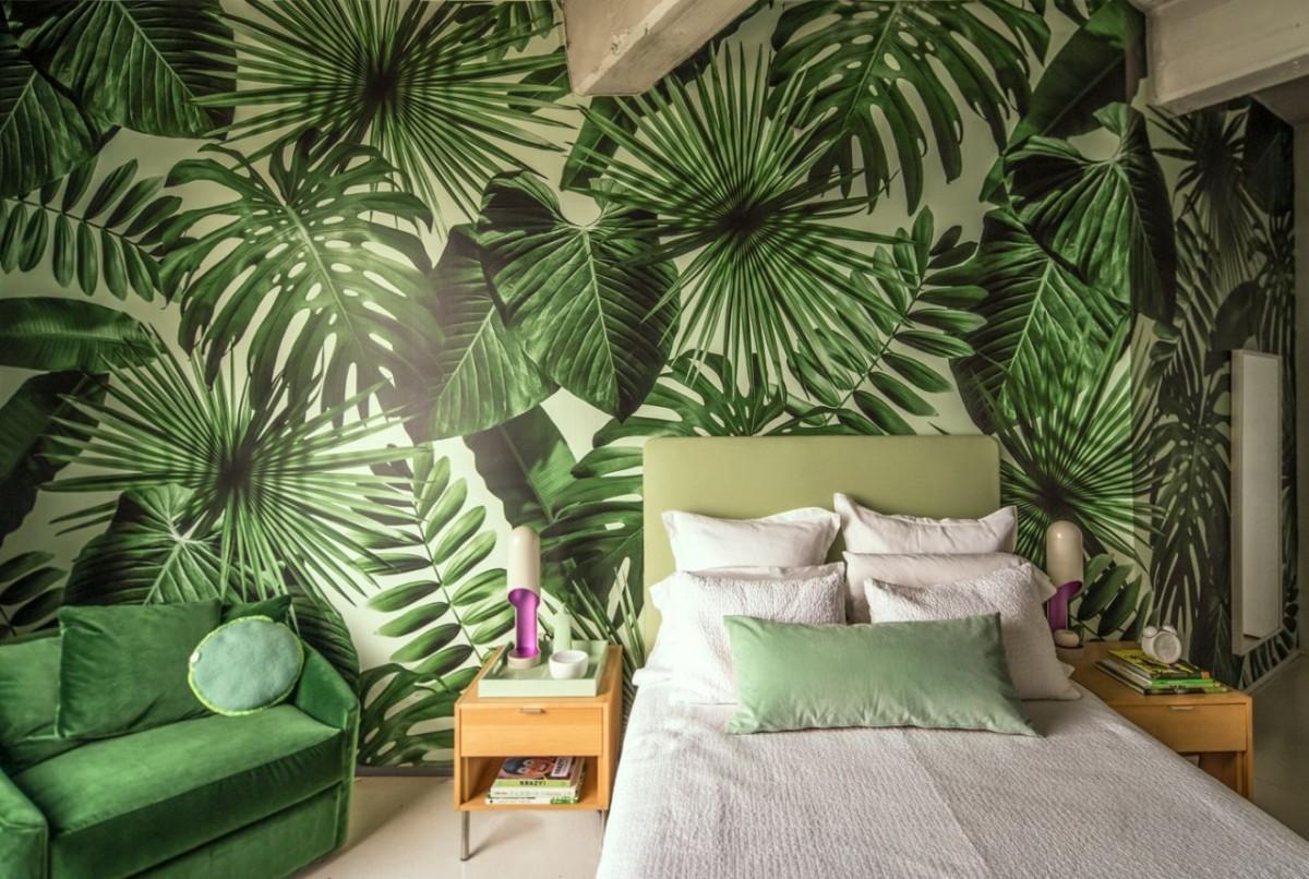 Зелёные обои: абсолют, покой и тропические мотивы