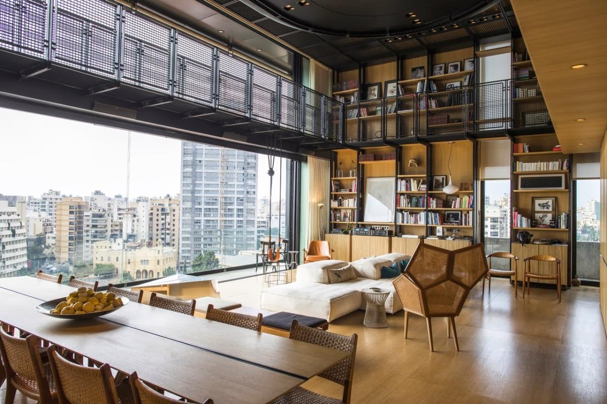 Шикарная квартира в Бейруте: 370 метров, 3 уровня, бассейн и библиотека