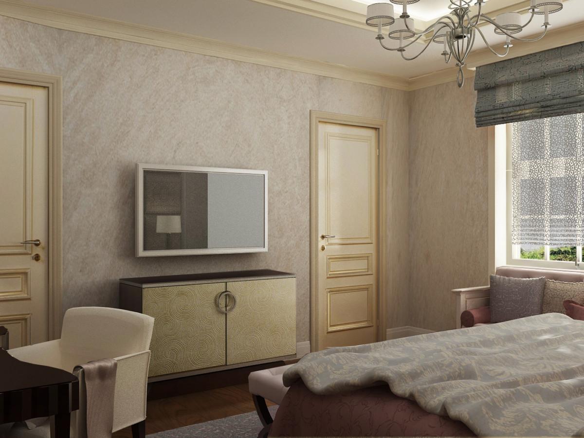 Шикарный американский комод с ТВ напротив кровати.