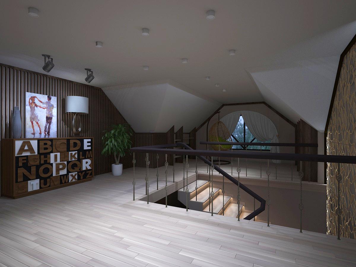 Для оформления стен выбрали деревянную рейку из ореха. На полу паркет, цвет белёный дуб.