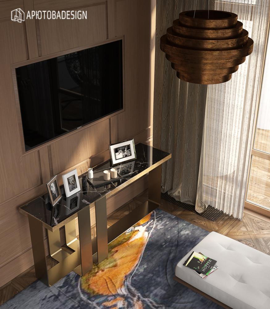 Телевизор постарались спрятать в стеновых деревянных панелях.
