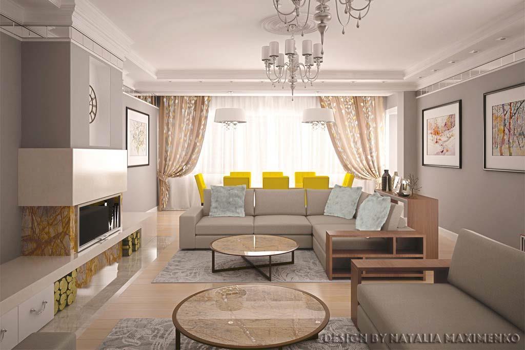 На первом этаже была создана большая гостиная с камином, библиотекой и столовой, где свободно можно принимать гостей.