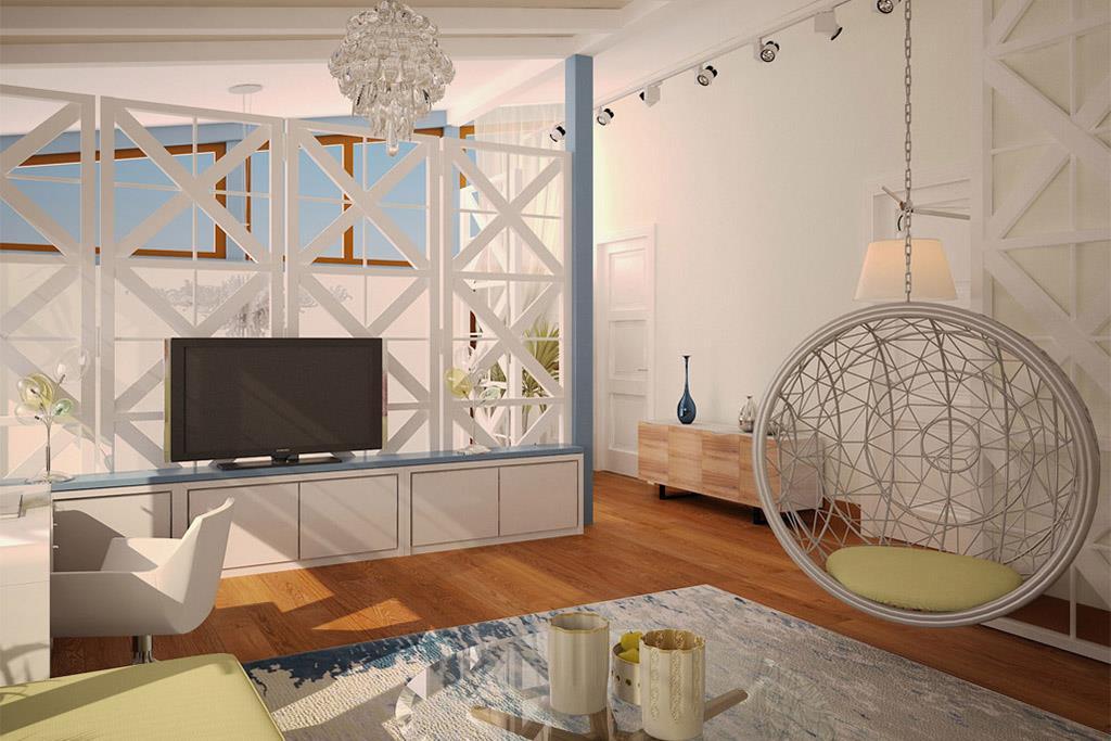 В мансардном этаже оборудована lounge-зона для отдыха с детьми в узком кругу: высокие потолки, большие окна по периметру добавили света и уюта в эту зону.