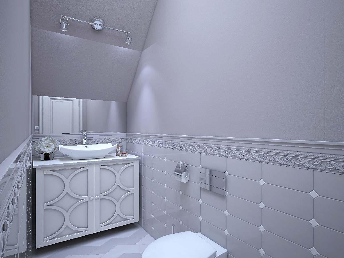 Отделка гостевого туалета — из мелкоформатной плитки итальянского производства, так как площадь помещения всего 3 кв. м.
